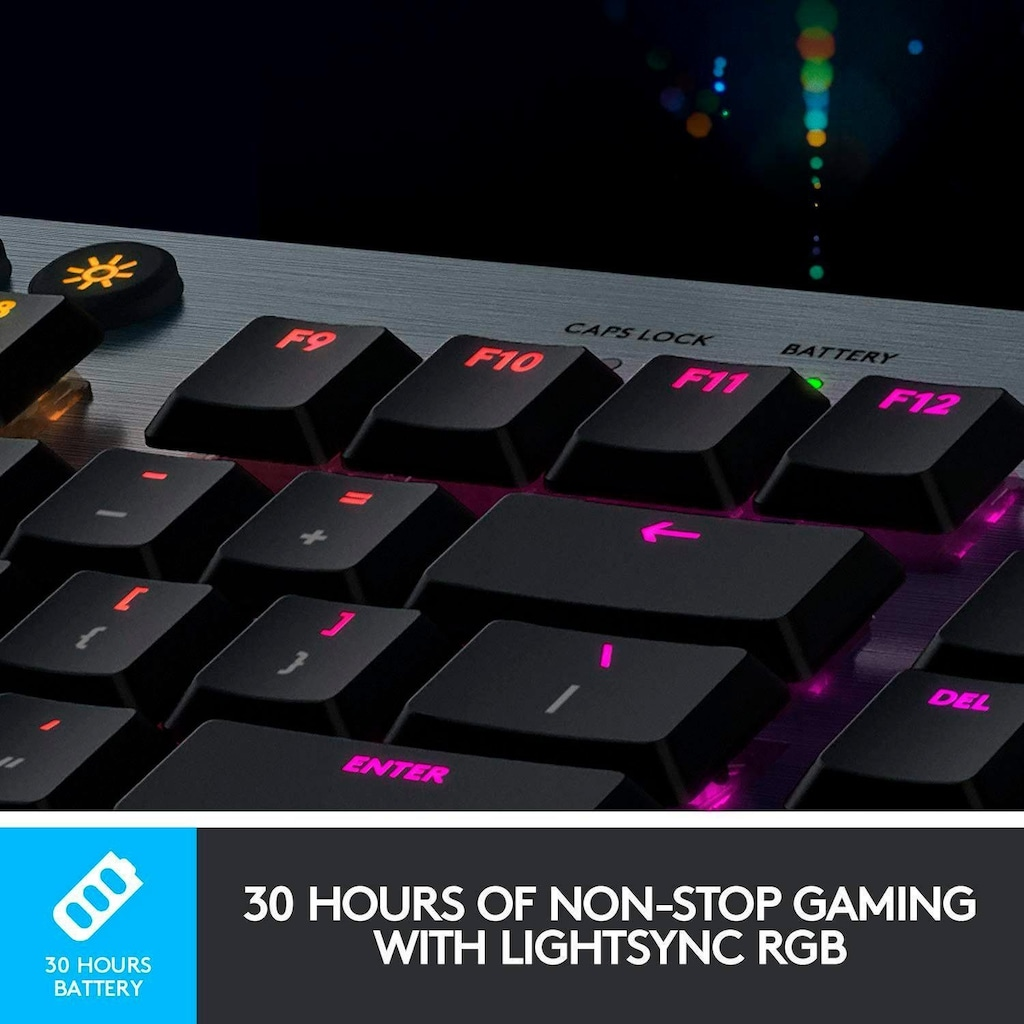 Logitech G Gaming-Tastatur »G915 LIGHTSPEED Wireless RGB Mechanical Gaming Keyboard - GL Clicky - CARBON«, (USB-Anschluss-Ziffernblock-Multimedia-Tasten)