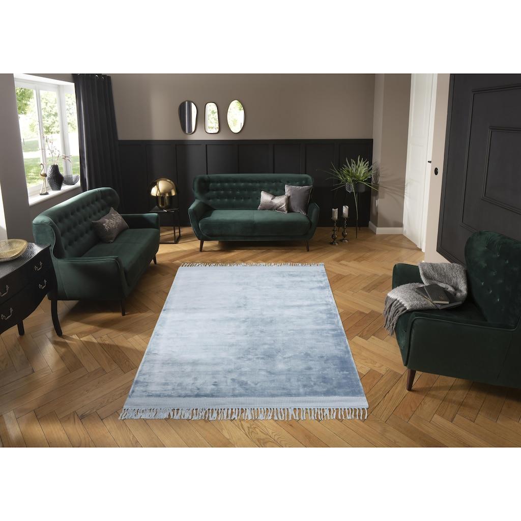 Leonique Teppich »Rakel«, rechteckig, 10 mm Höhe, Seidenoptik, mit Fransen, Wohnzimmer