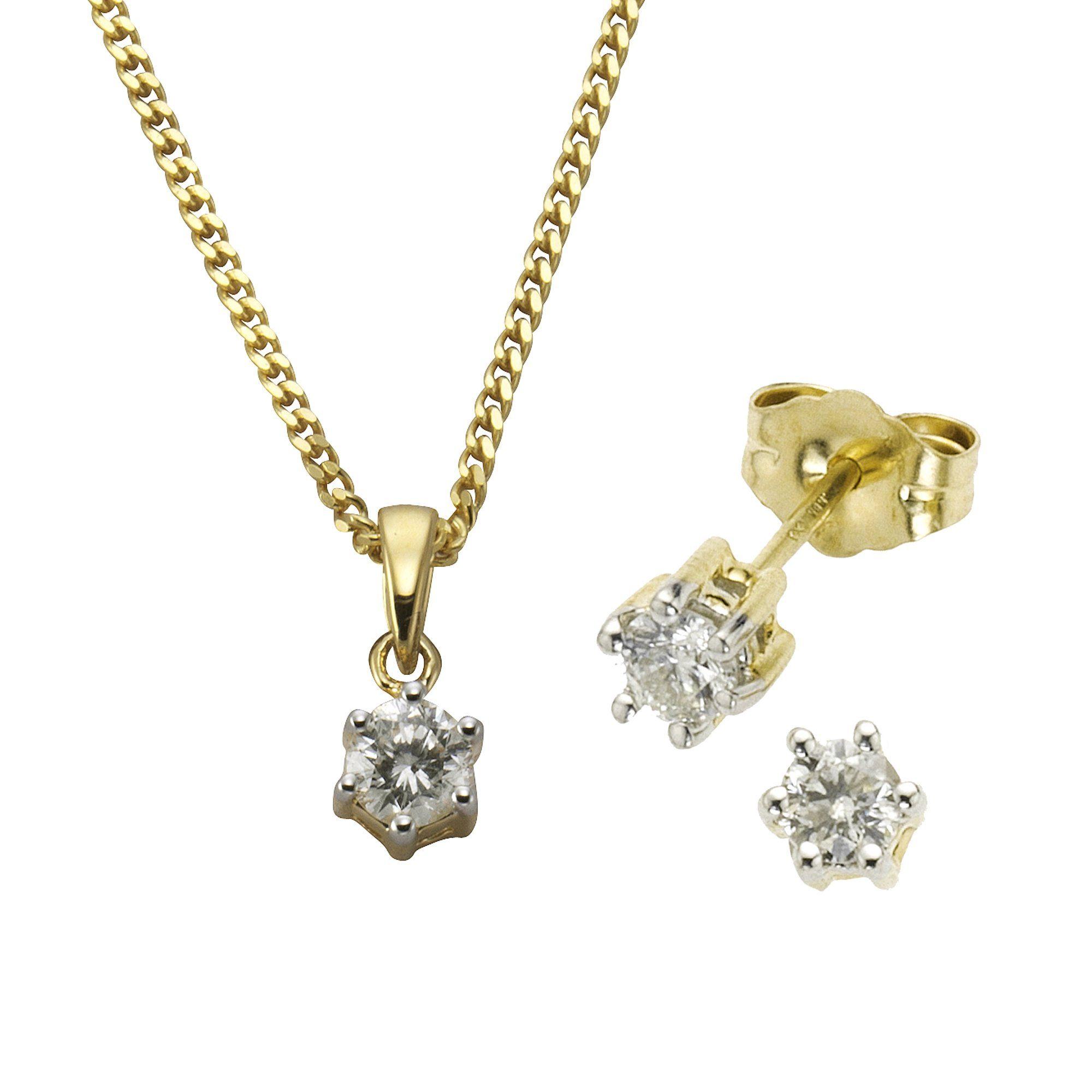Diamonds by Ellen K Set Ohrstecker Anhänger mit Kette 585/- Gold Brillant 050ct | Schmuck > Ohrschmuck & Ohrringe > Ohrstecker | Gelb | Diamonds By Ellen K.