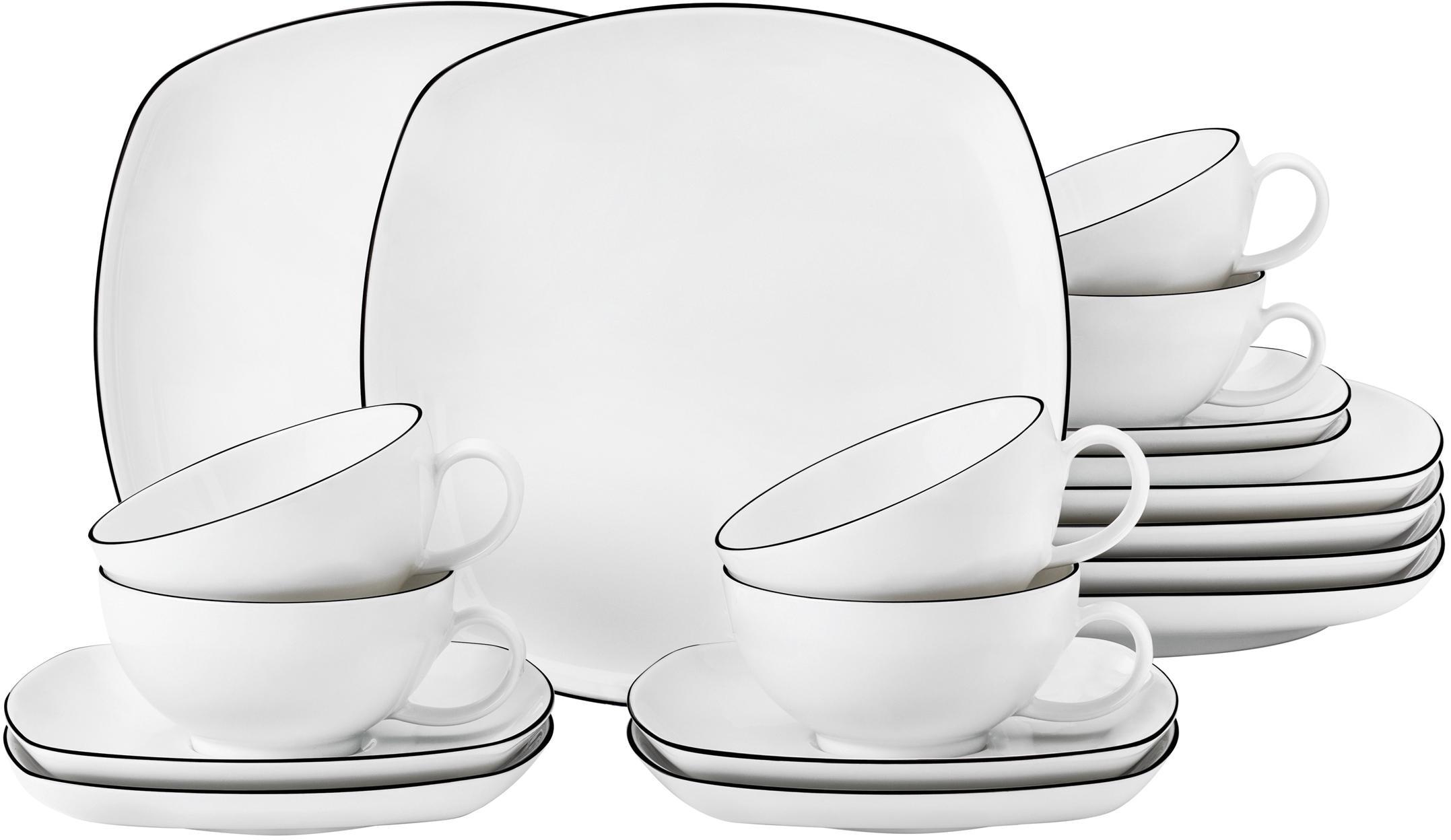 Seltmann Weiden Teeservice Lido, (Set, 18 tlg.), 200 ml weiß Geschirr-Sets Geschirr, Porzellan Tischaccessoires Haushaltswaren