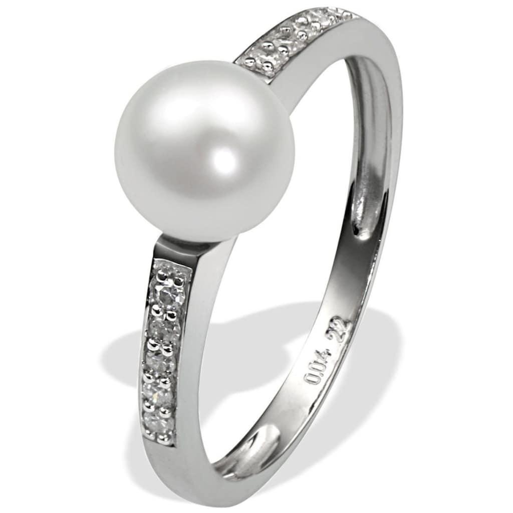 goldmaid Perlenring, 375/- Weißgold 1 Perle 10 Dia. 0,09 ct.
