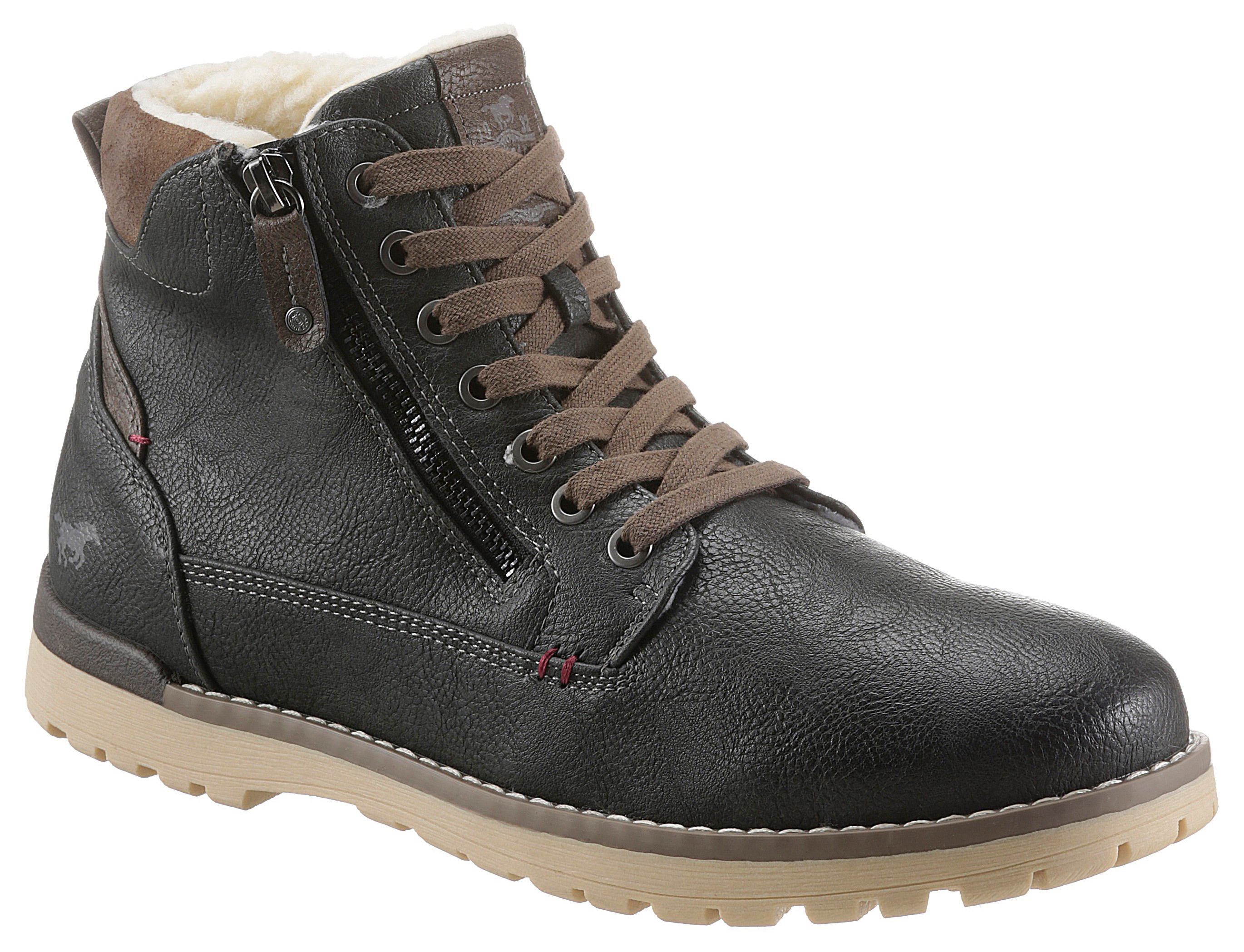 mustang shoes -  Schnürboots, mit Logo-Patch