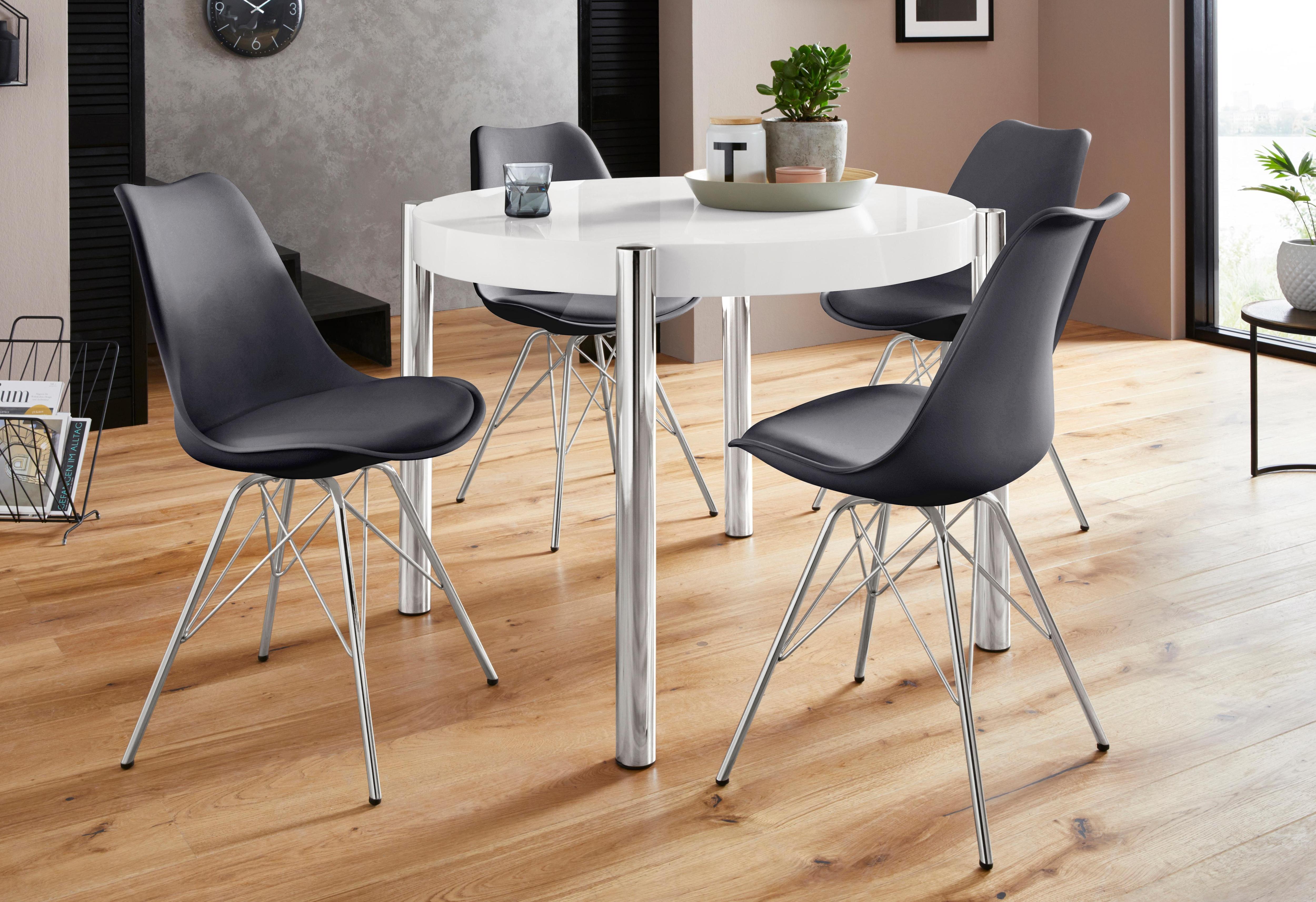 Homexperts Essgruppe Hannes2-Ursel Tisch rechteckig mit 4 Schalenstühlen