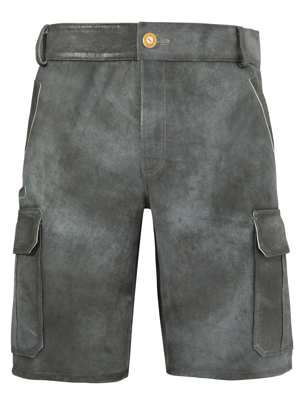 andreas gabalier kollektion -  Lederhose, Herren mit modernen Cargotaschen im Used-Look