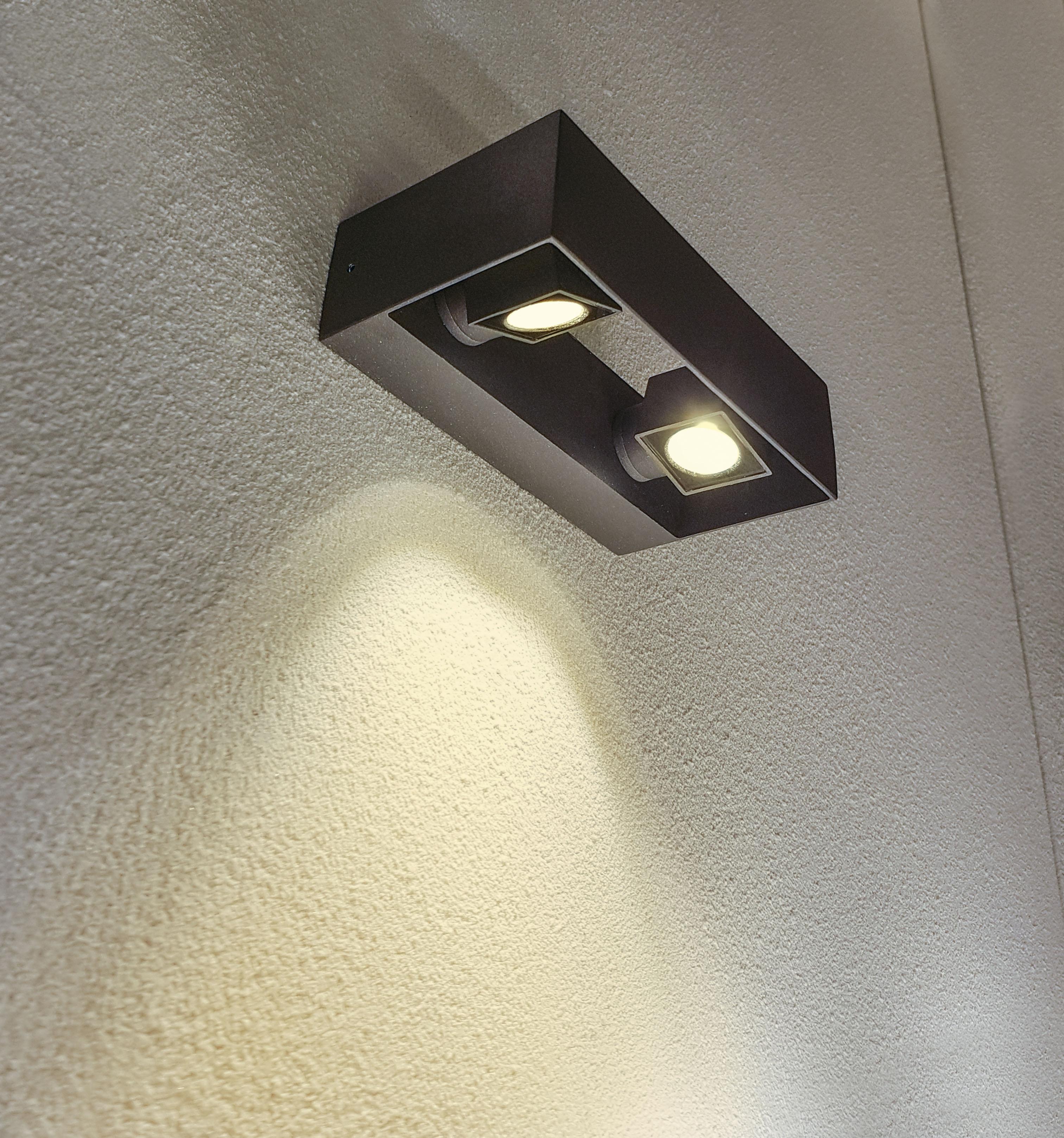 HEITRONIC LED Außen-Wandleuchte Vigo, LED-Board, Warmweiß, Einzeln verstellbare Spots
