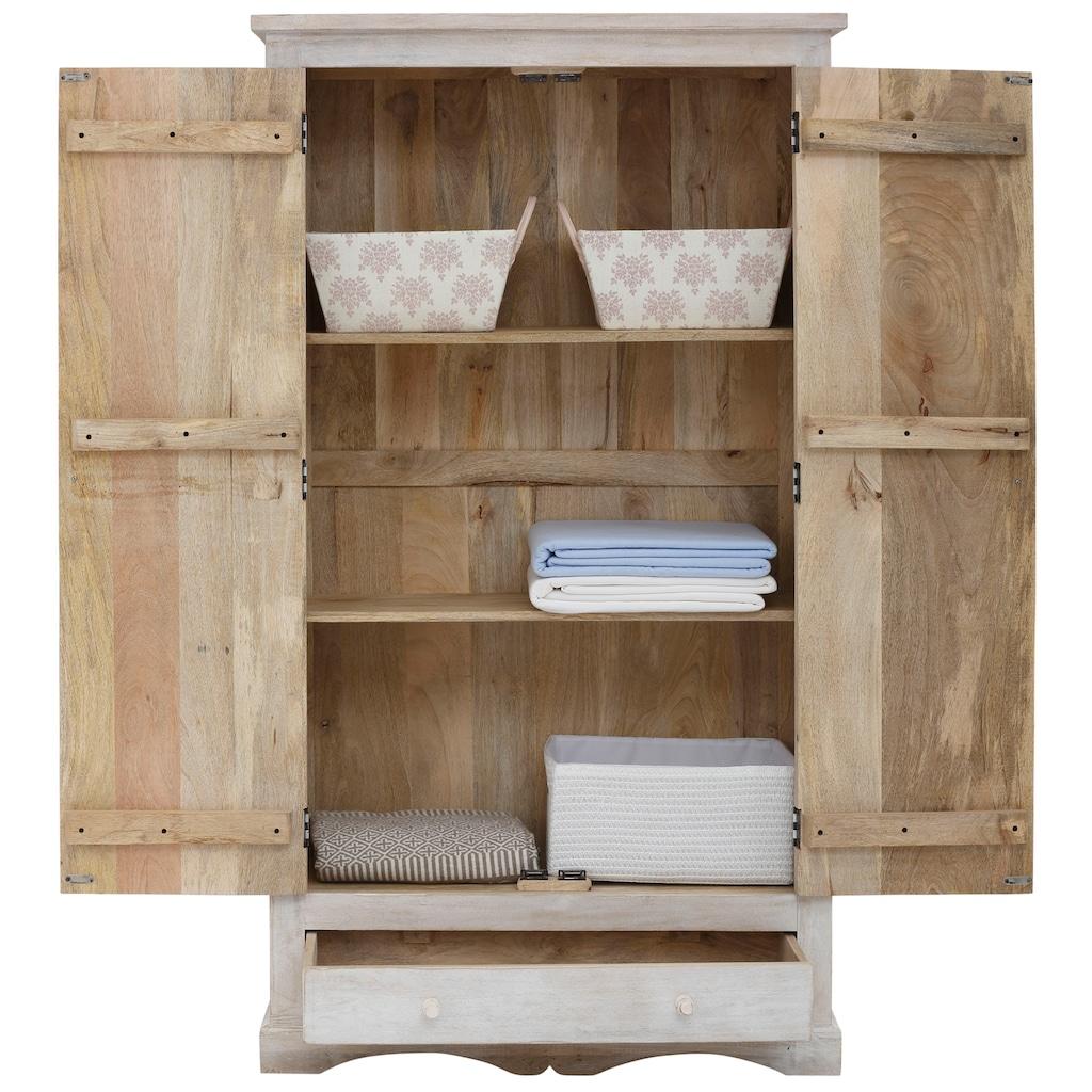 Home affaire Stauraumschrank »Landor«, aus massiven Mangoholz, 2 Einlegeböden, 1 Schubkasten, mit dekorativen Schnitzereien, Breite 100 cm