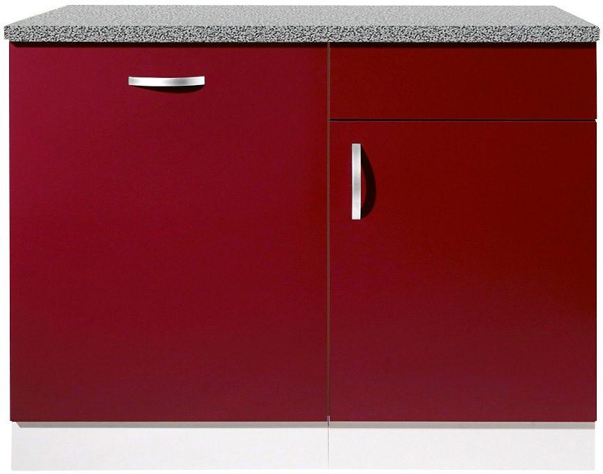 wiho Küchen Spülenschrank Amrum, 110 cm breit, inkl. Tür/Sockel für Geschirrspüler rot Spülenschränke Küchenschränke Küchenmöbel