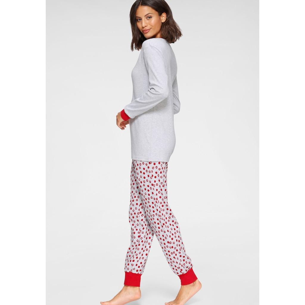 Schiesser Pyjama, mit weihnachtlichem Rentier-Print