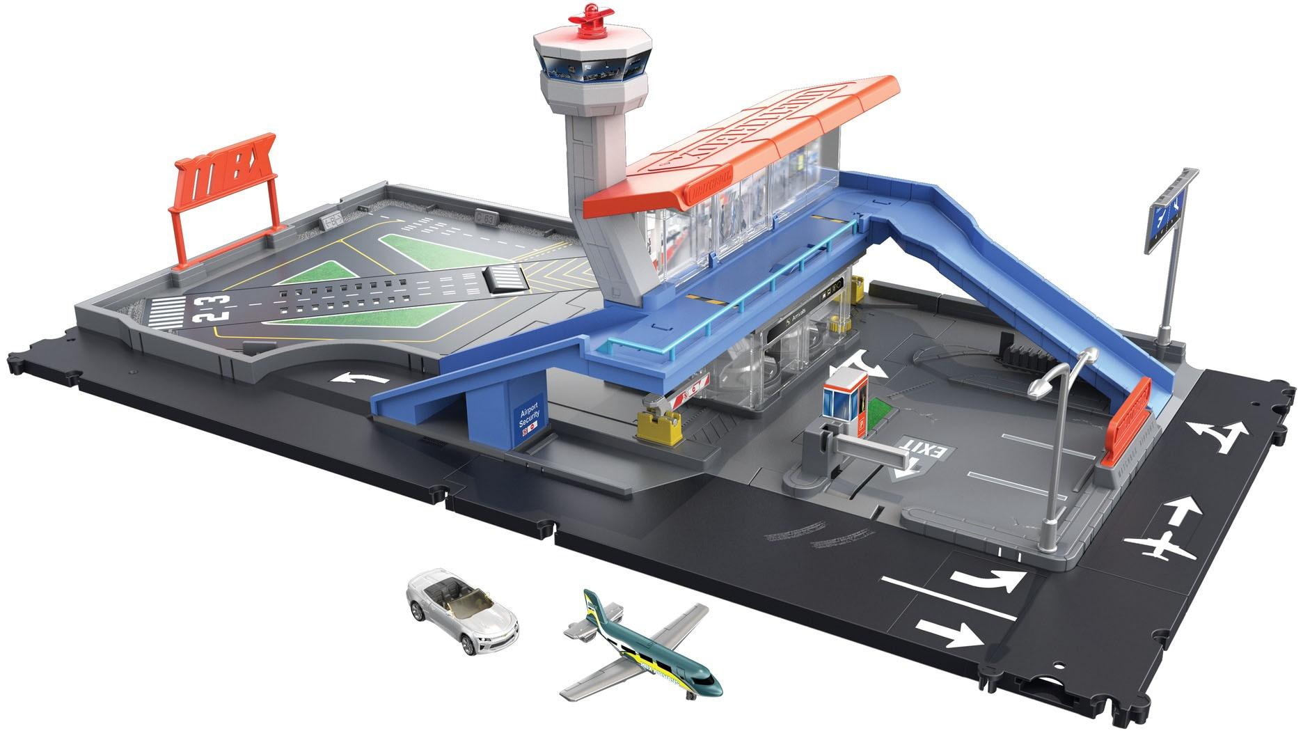 MATCHBOX Spiel-Gebäude Flughafen Set, mit Geräuschen, Spielzeugauto und Flugzeug bunt Kinder Zubehör für Spielzeugautos Autos, Eisenbahn Modellbau