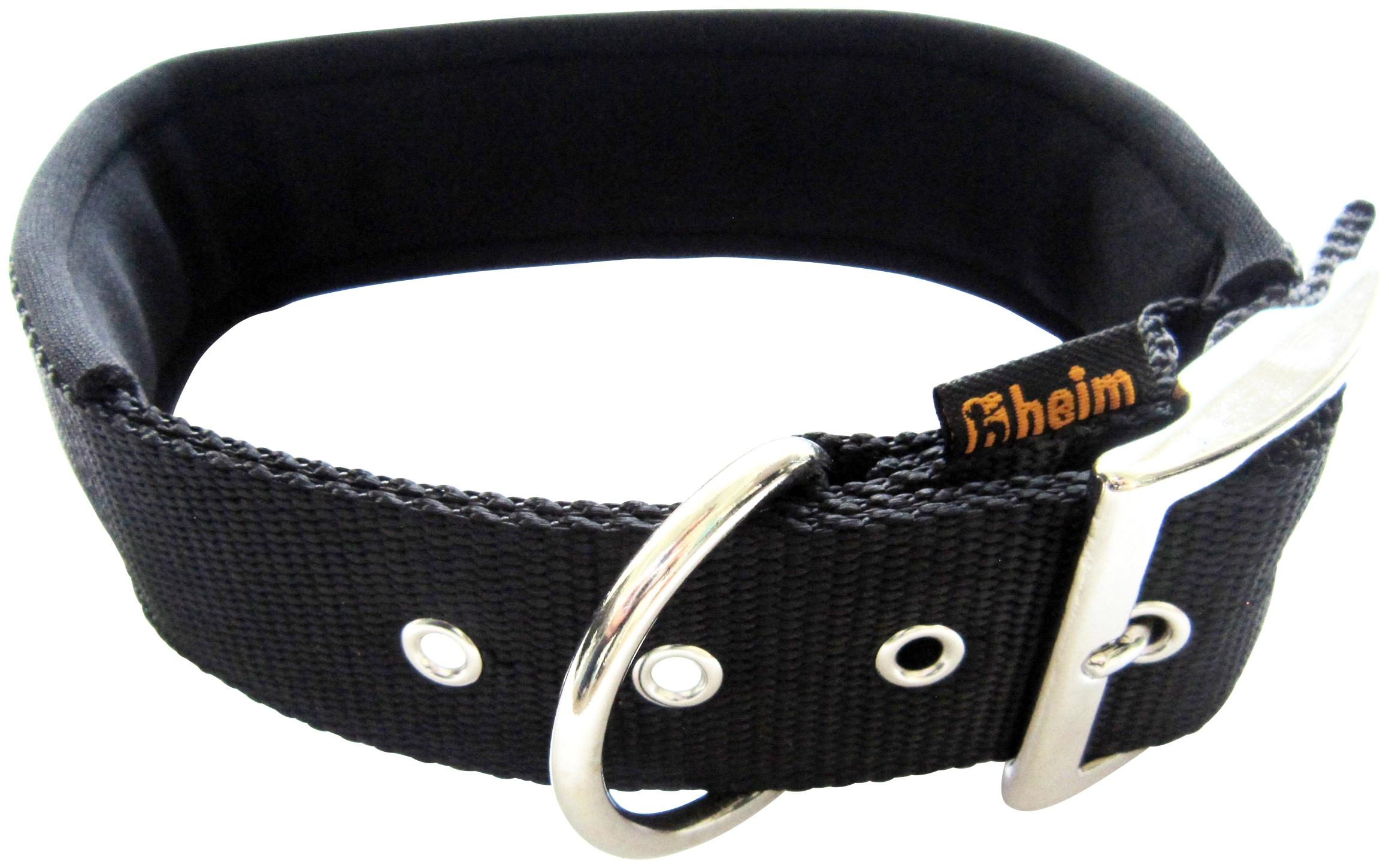 HEIM Hunde-Halsband, Nylon, mit Neopren-Futter, Länge: 40 cm schwarz Hunde-Halsband Hundehalsbänder Hund Tierbedarf