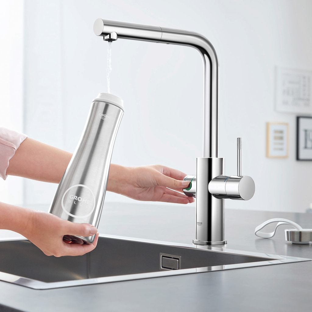 Grohe Küchenarmatur »Blue Home L-Auslauf Starter Kit«, Trinkwasser Still, Medium oder sprudelnd, App steuerbar