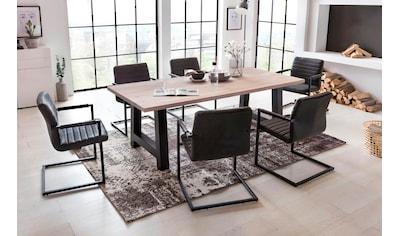 Home affaire Esstisch »New York«, Balkeneiche massiv mit ausdrucksstarker Holzoptik kaufen