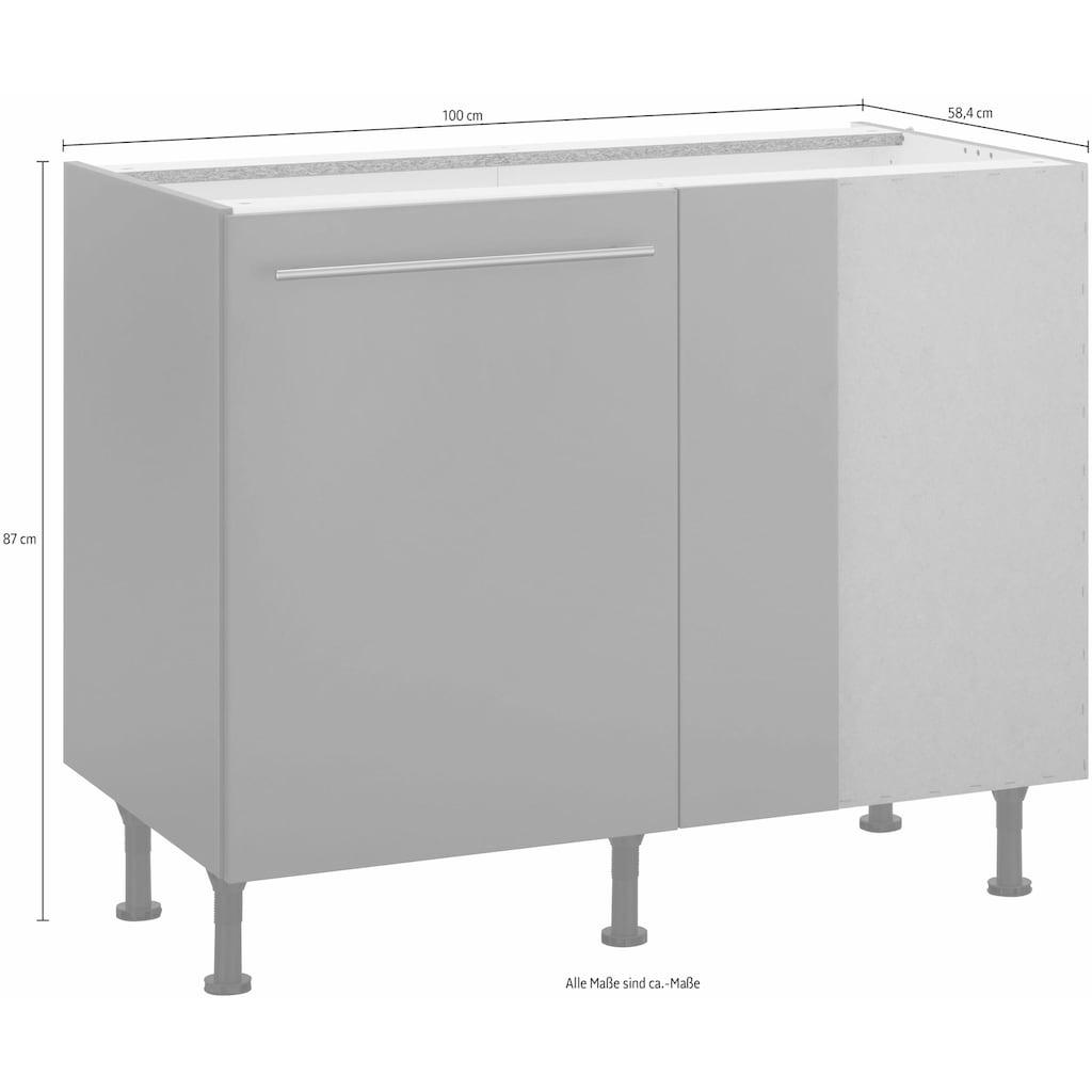 OPTIFIT Eckunterschrank »Bern«, 100 cm breit, mit 1 Tür mit höhenverstellbaren Füßen, mit Metallgriff