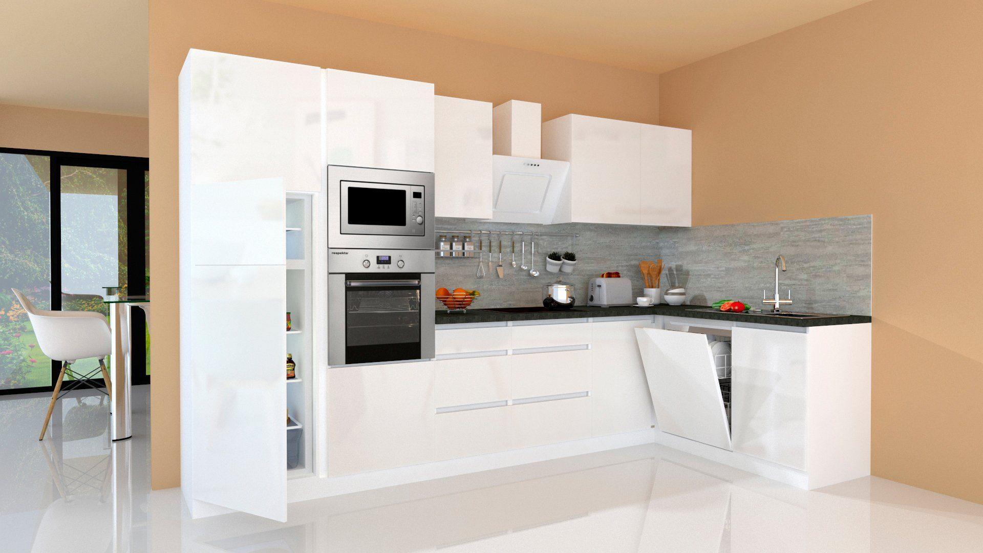 RESPEKTA Winkelküche Usedom mit E-Geräten mit Soft-Close Funktion Breite 345 x 172 cm