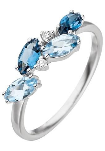 JOBO Diamantring, 585 Weißgold mit Blautopas und 2 Diamanten kaufen