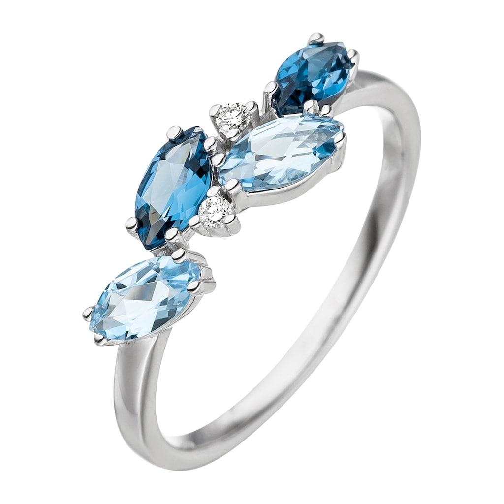 JOBO Diamantring, 585 Weißgold mit Blautopas und 2 Diamanten