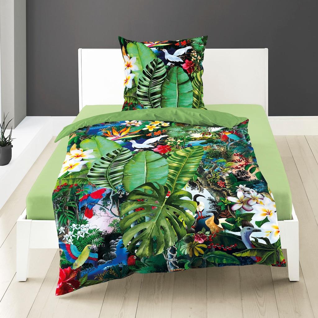 BIERBAUM Wendebettwäsche »Tropical«, mit Blättern