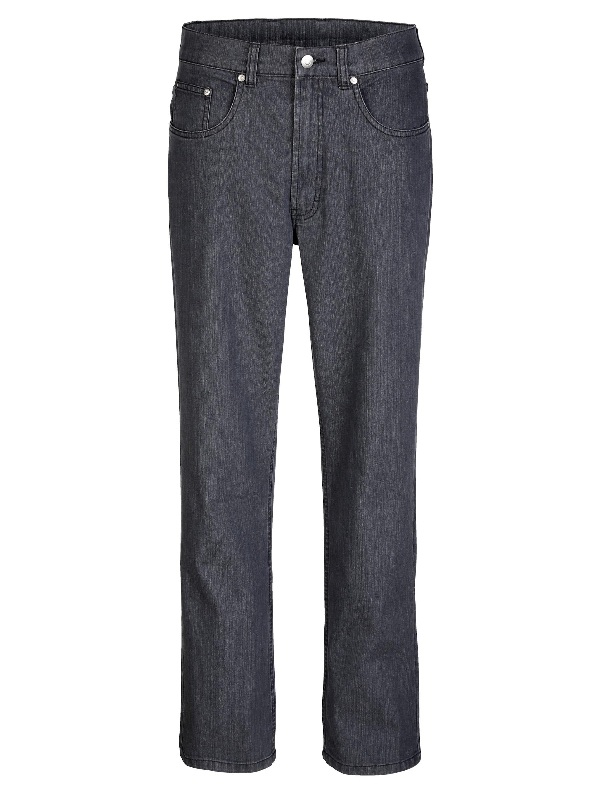 Roger Kent 5-Pocket Jeans mit Gürtelschlaufen grau Herren Straight Fit