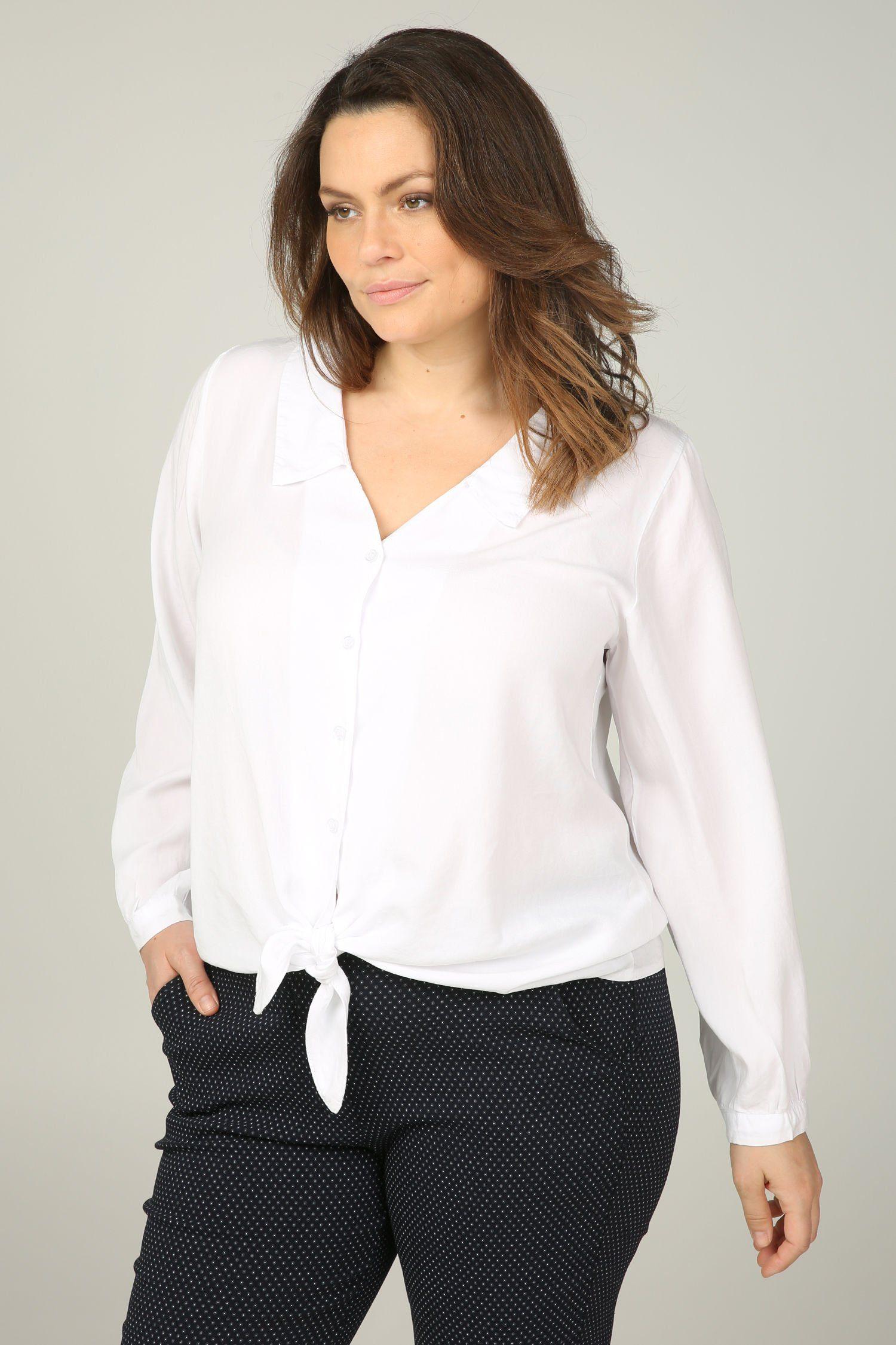 Paprika Klassische Bluse Hemdbluse mit Knoten-Detail | Bekleidung > Blusen > Klassische Blusen | Beige | Paprika