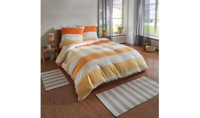 TRAUMSCHLAF Bettwäsche »Melange Streifen orange«, Biberbettwäsche weich und kuschelig kaufen
