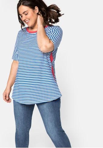 Sheego Rundhalsshirt, mit Multicolor-Streifen und Kontrastdetails kaufen