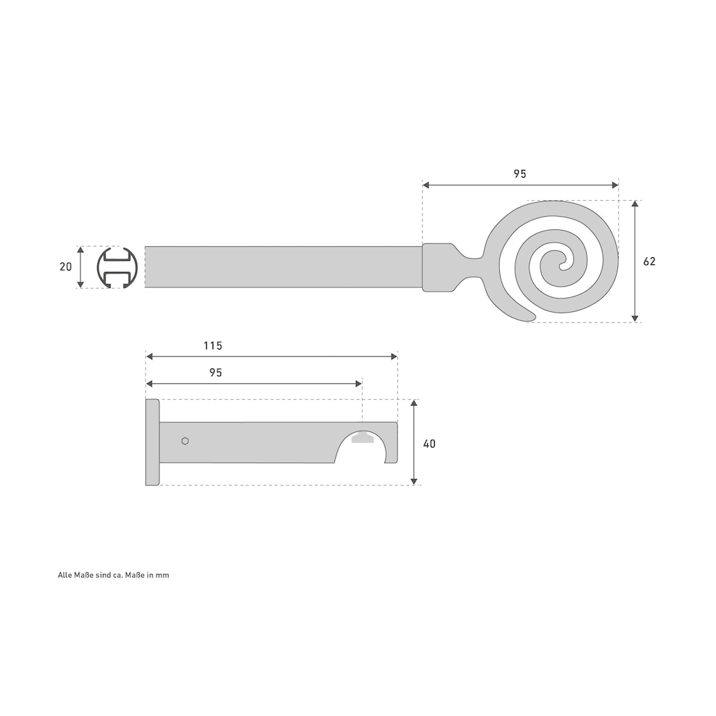 Good Life Innenlaufschiene »Espiral«, 1 läufig-läufig, Fixmaß
