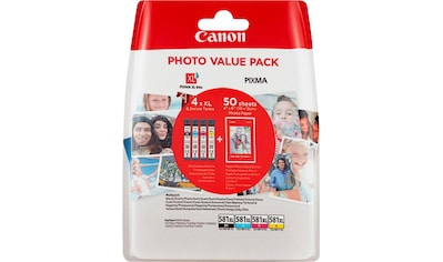 Canon Tintenpatrone »CLI-581XL BK/C/M/Y + Fotopapier Value Pack«, (Packung) kaufen