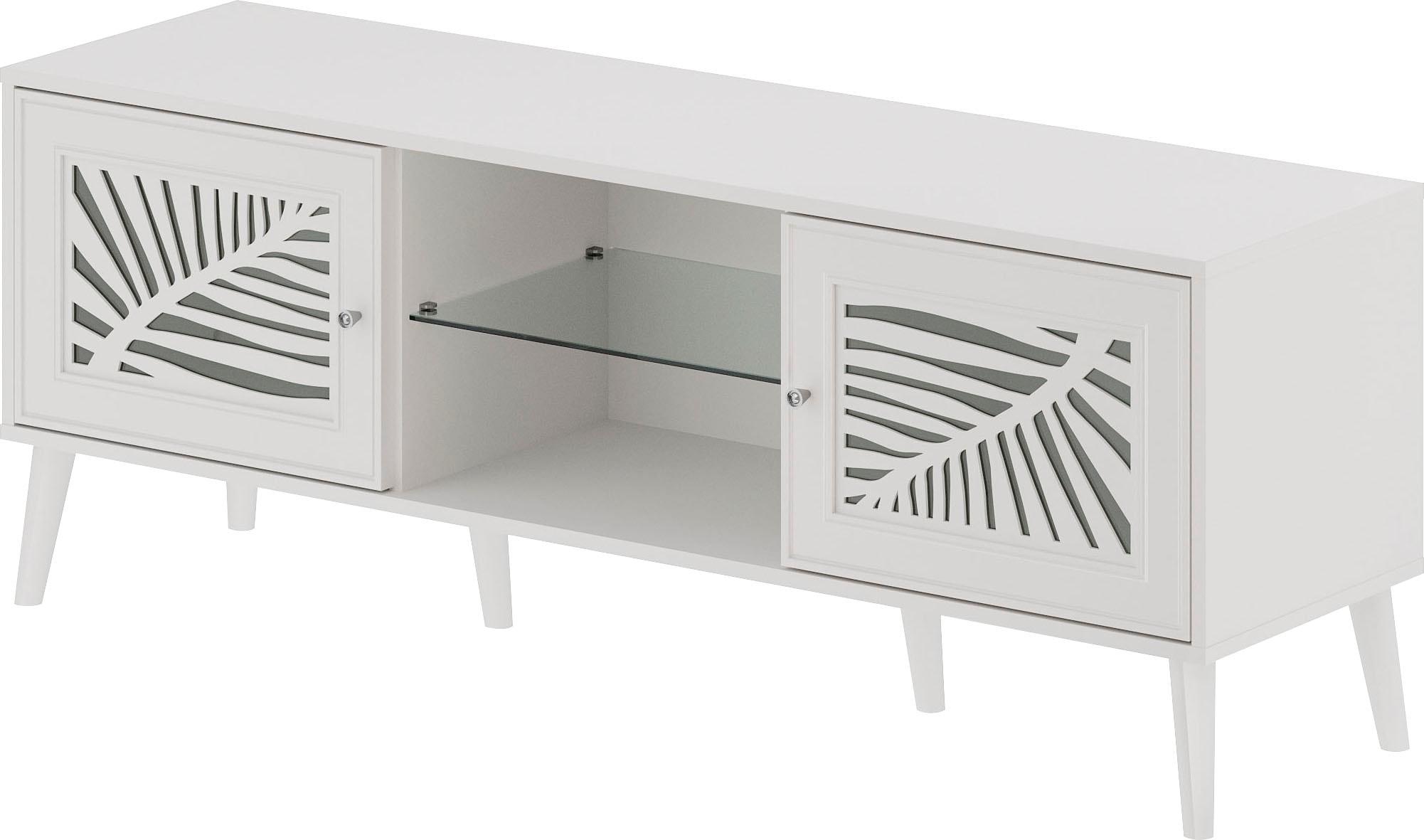 Home affaire Lowboard Tropical, mit schön ausgefrästen Profilen, Metallgriffe Kristall Swarovski weiß Lowboards Kommoden Sideboards