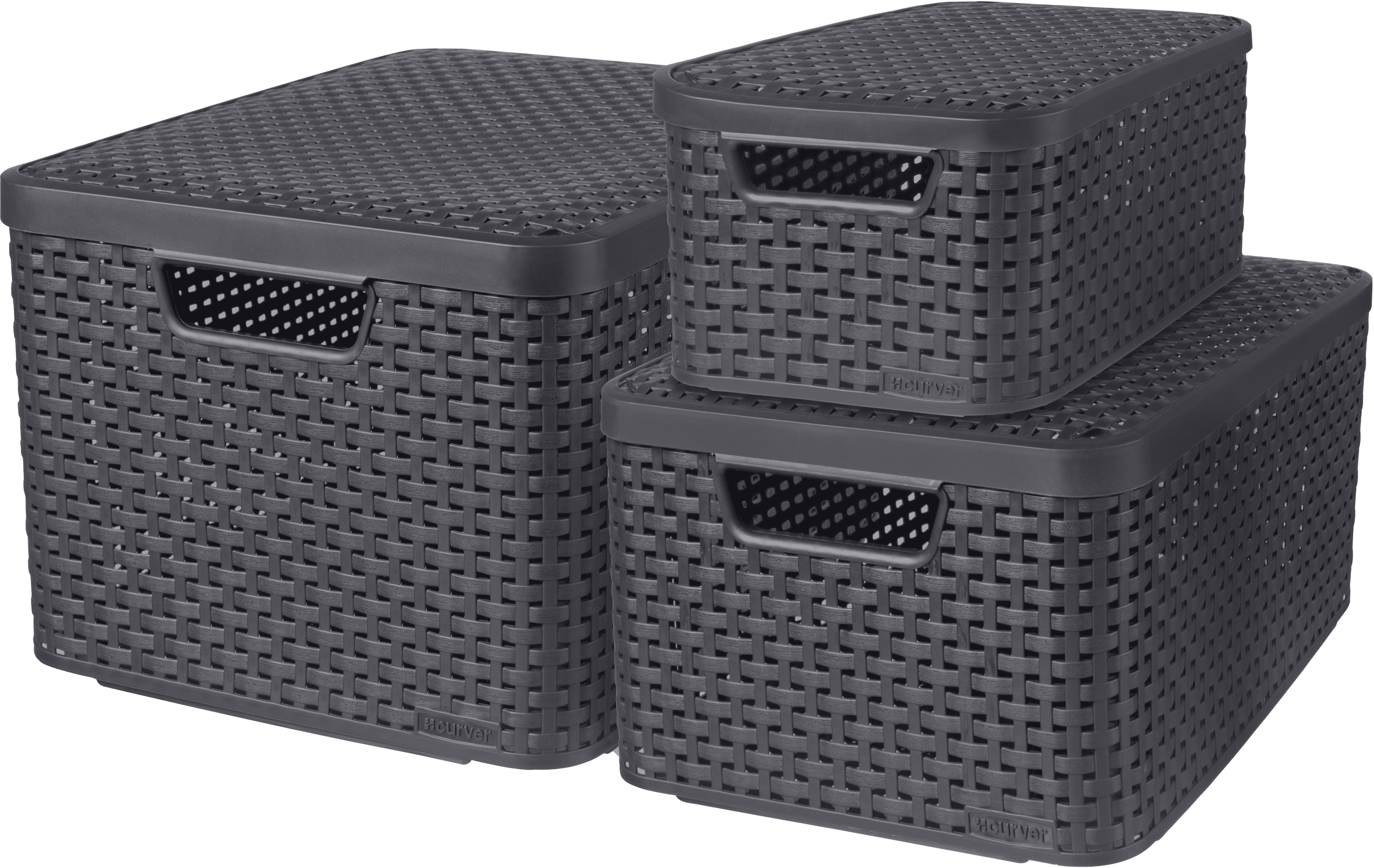 Curver Aufbewahrungsbox Style, (Set, 3 St.), mit Deckel, anthrazit, 7/13/18 Liter grau Kleideraufbewahrung Aufbewahrung Ordnung Wohnaccessoires