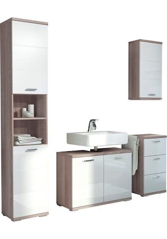 Homexperts Badmöbel-Set »Nusa«, (4 tlg.), aus Hochschrank, Waschbeckenunterschrank, Hängeschrank und Unterschrank, Badezimmerschrank mit Metallgriffen und MDF-Fronten in Hochglanz-Optik kaufen