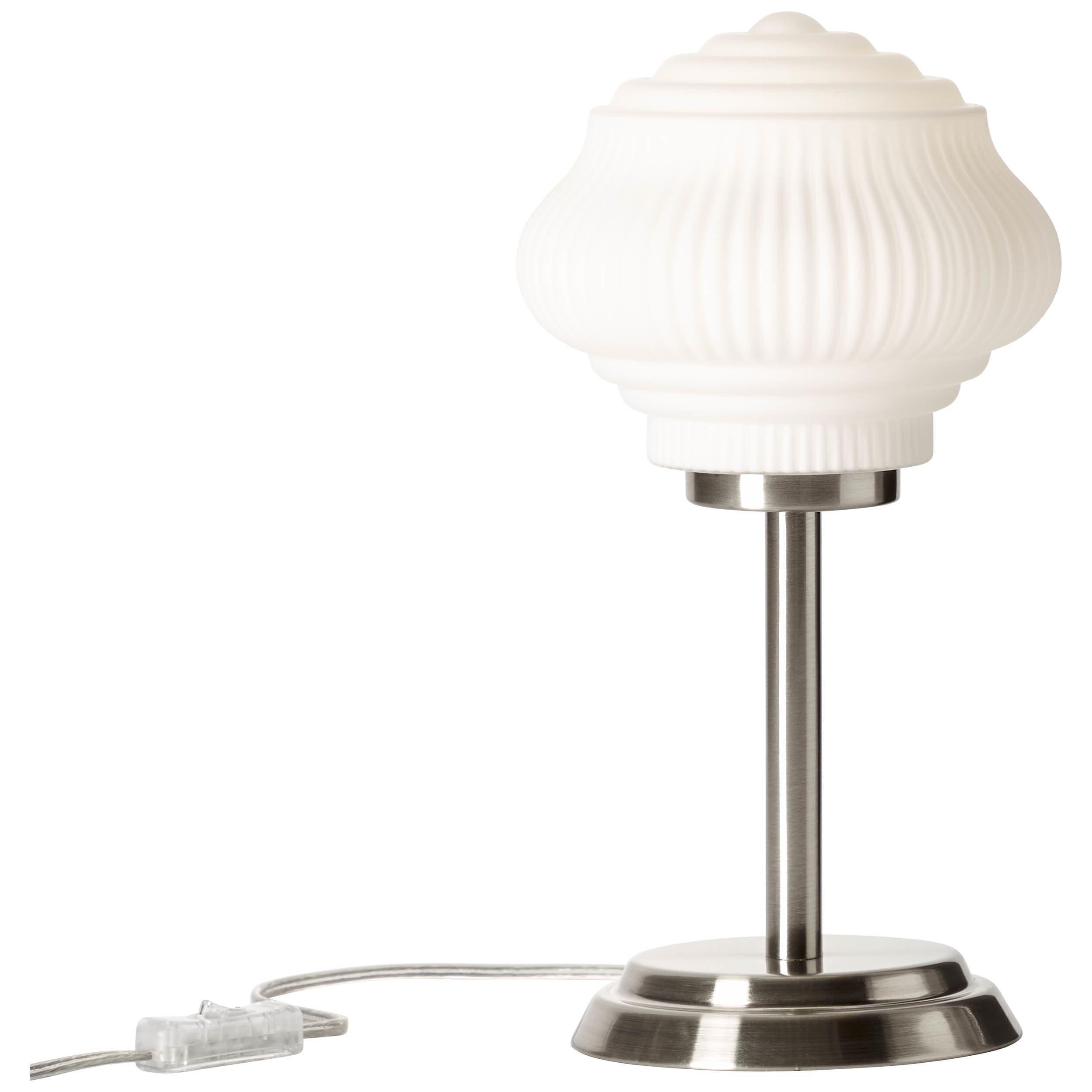 Brilliant Leuchten Tanic Tischleuchte nickel/matt weiß