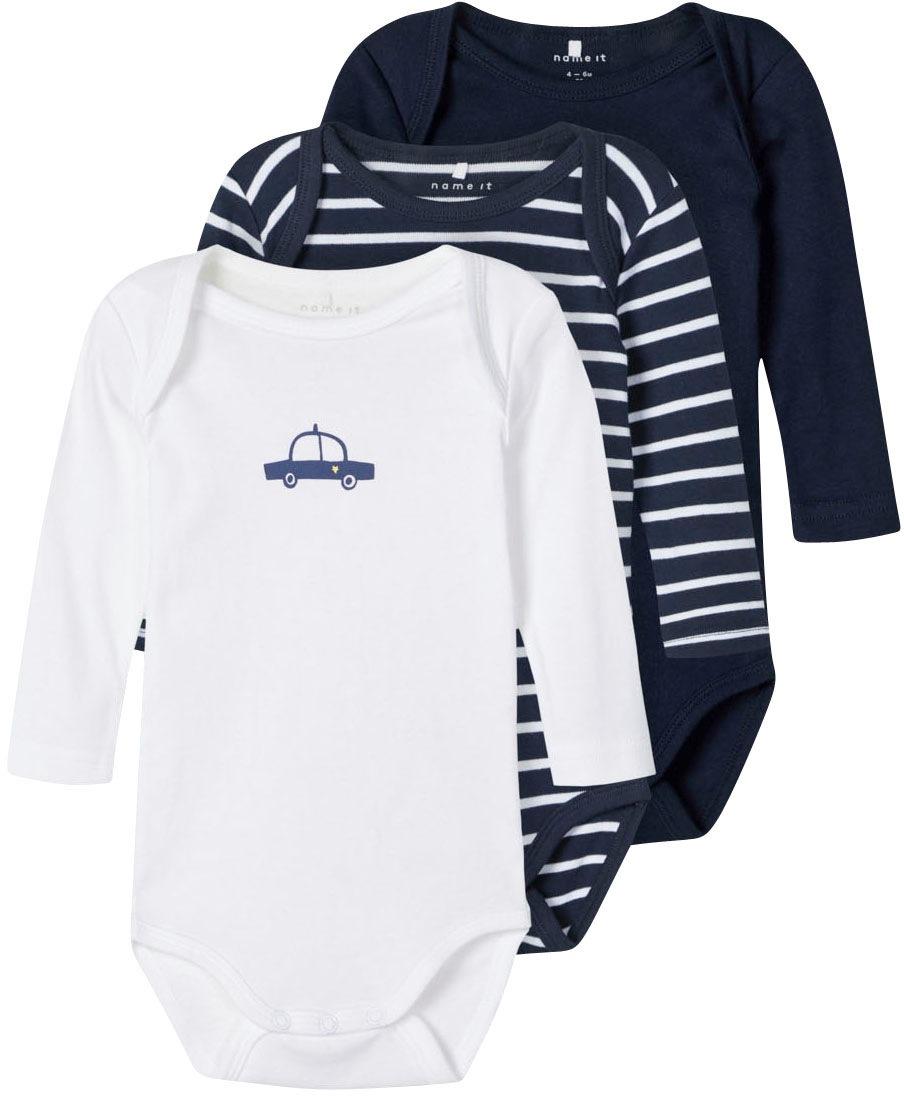 Name It Langarmbody blau Baby Babykleidung
