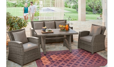 KONIFERA Loungeset »Siros«, 12 - tlg., 3 - er Sofa, 2 Sessel, Tisch 135x82 cm, Polyrattan kaufen
