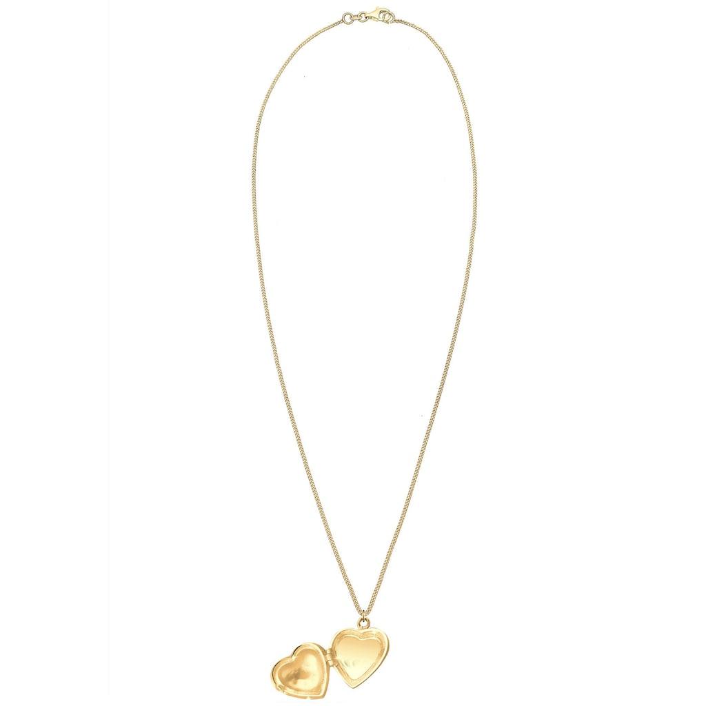 Elli Kette mit Anhänger »Herz Medaillon Ornament 925 Silber«