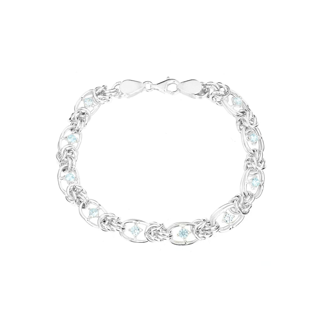 Firetti Silberarmband »Königskettengliederung, 7,6 mm breit, ovale Elemente, hochglanzpoliert, halbmassiv«, mit Zirkonia