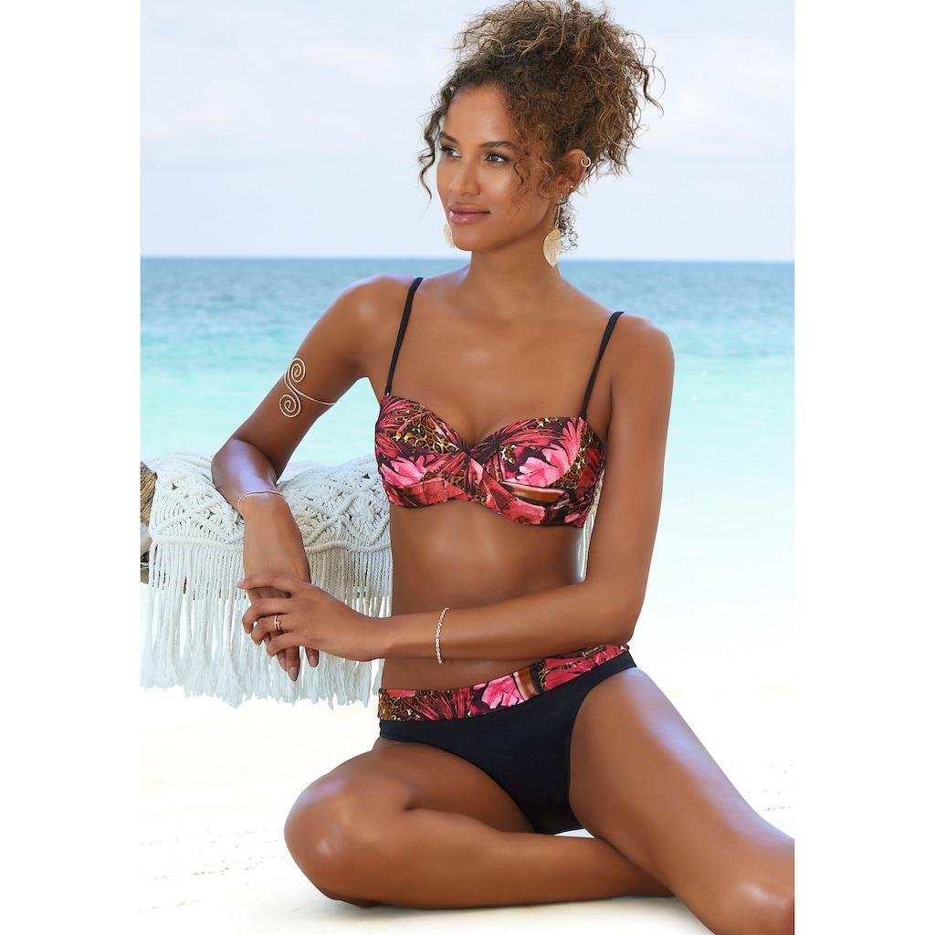 LASCANA Bügel-Bandeau-Bikini, mit Dschungel-Optik