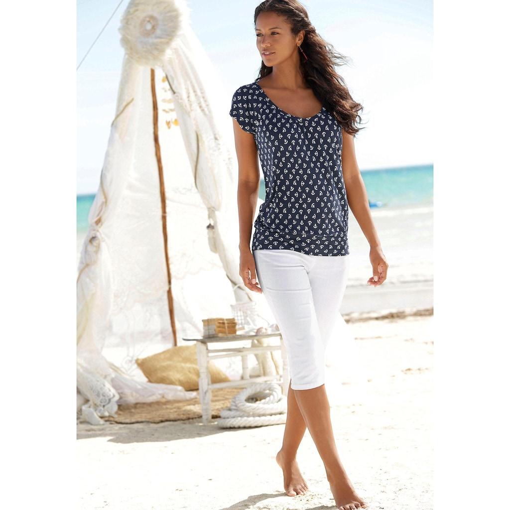 Beachtime Strandshirt, mit Ankerdruck