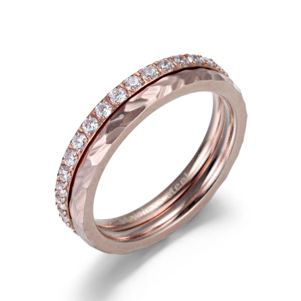 Firetti Ring-Set »4,0 mm, glänzend, matt, schlicht und zeitlos«, (Set, 2 tlg.), mit Zirkonia