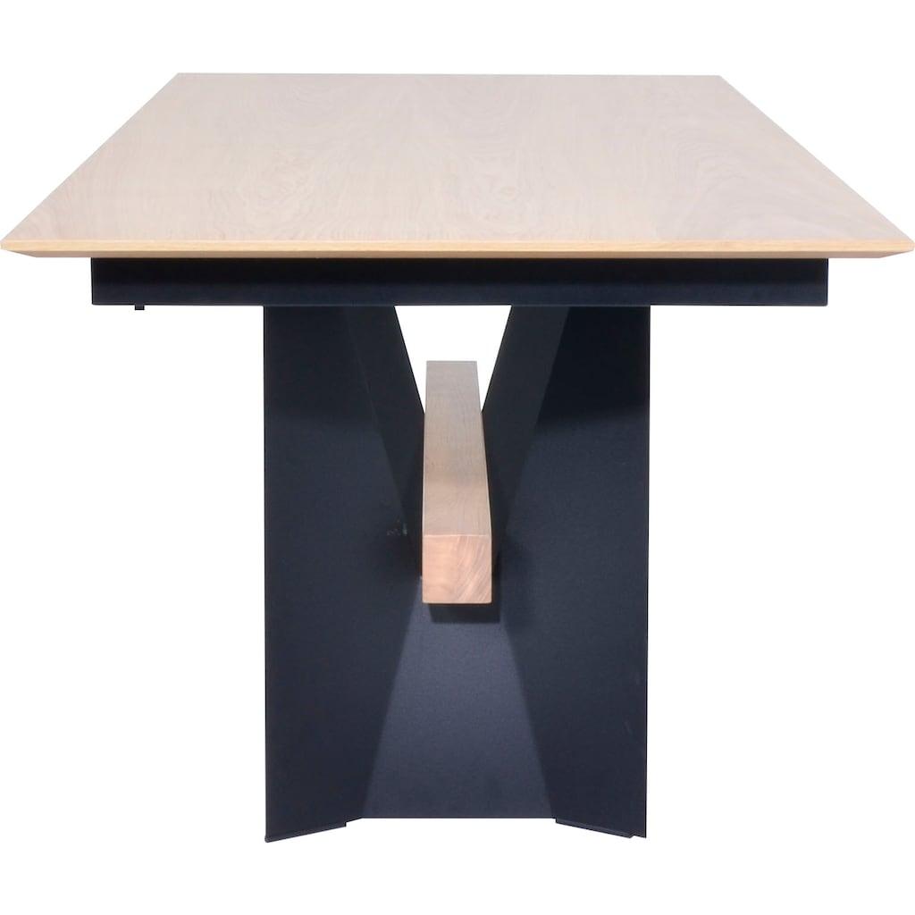 K+W Komfort & Wohnen Esstisch »Deseo II«, mit Butterfly-Auszugsfunktion, Gestell aus Metall mit Massivholzbalken, in 2 Breiten
