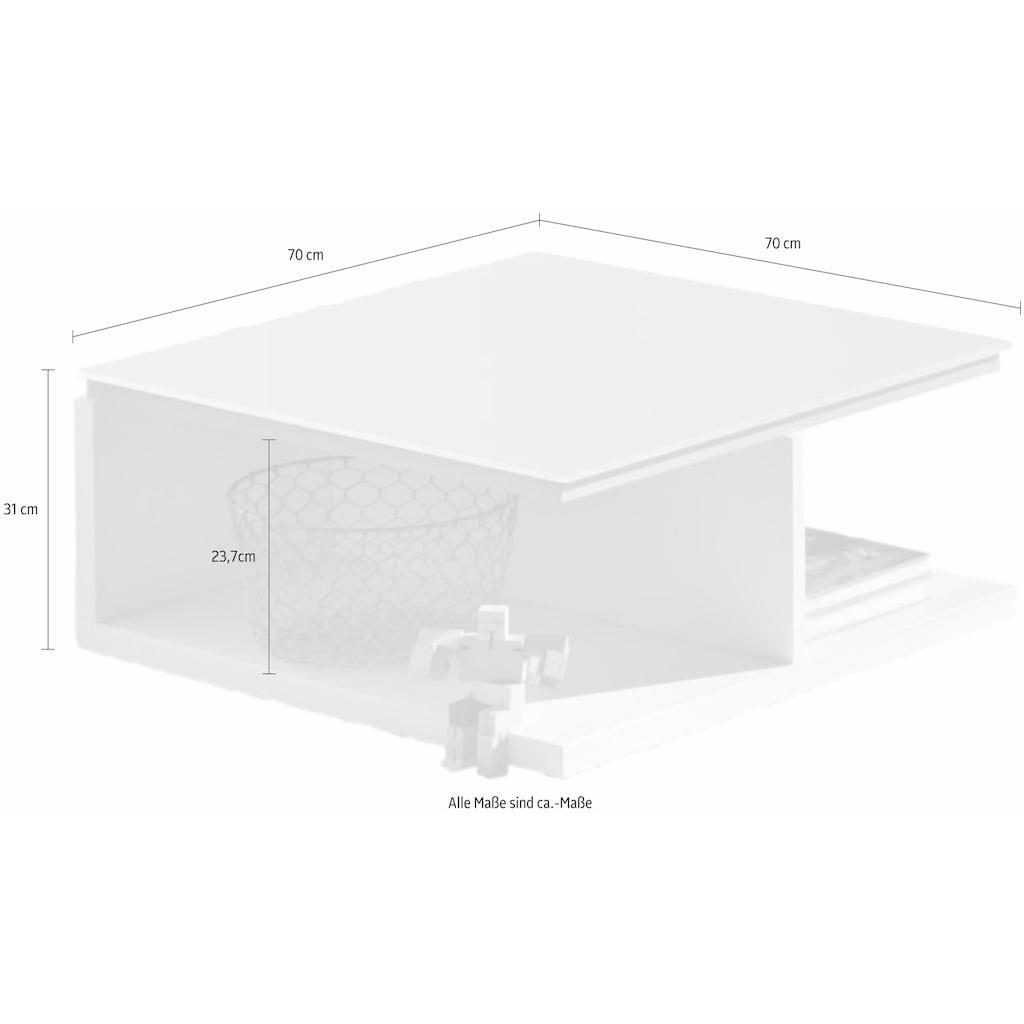 now! by hülsta Couchtisch »CT 18«, zeitloses Design in Lack weiß mit Glasplatte