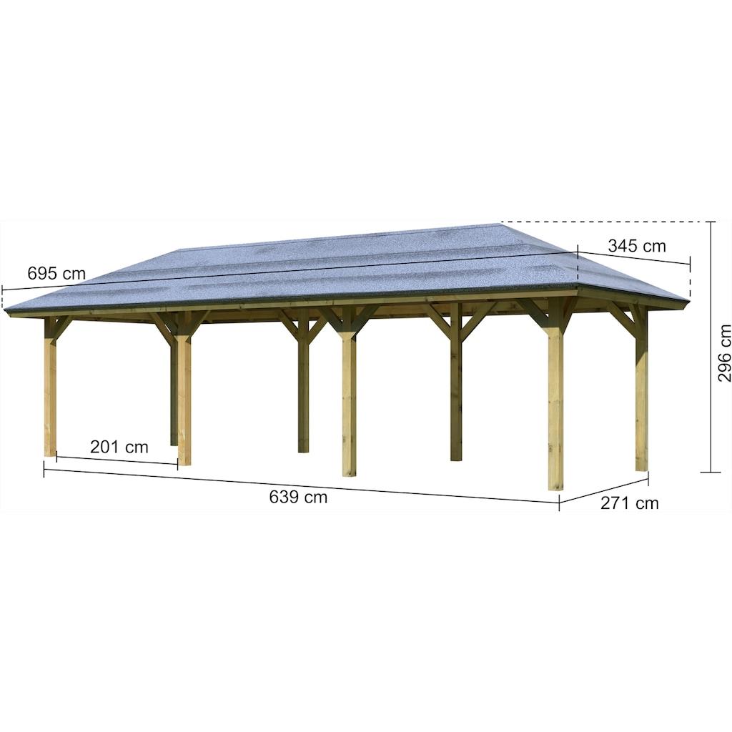 Karibu Holzpavillon »Mailand 2«, BxT: 345x695 cm