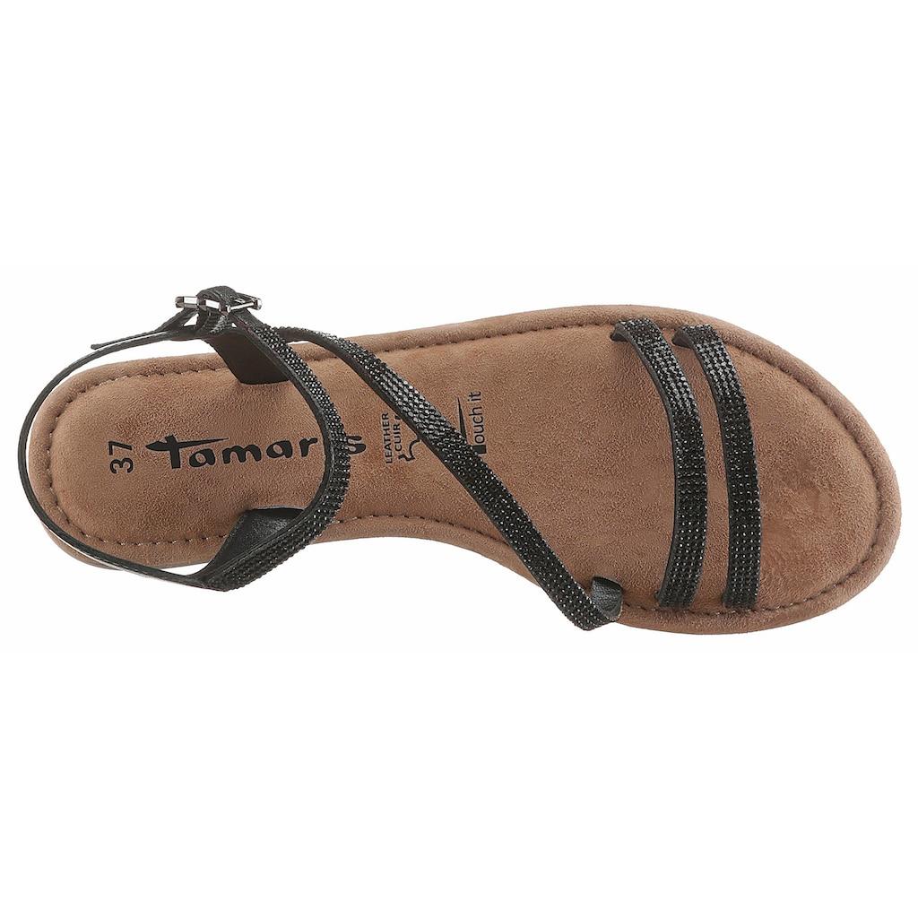 Tamaris Sandale, mit Glitzer-Riemchen