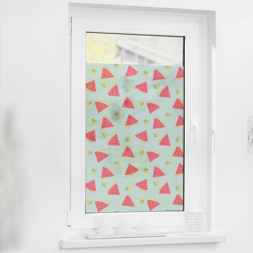 LICHTBLICK ORIGINAL Fensterfolie »Wassermelone«, 1 St., blickdicht, strukturiertKlebepunkte, selbstklebend, Sichtschutz