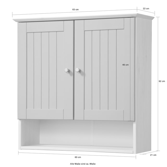WELLTIME Hängeschrank »Venezia Landhaus«, Breite 63 cm, aus Massivholz