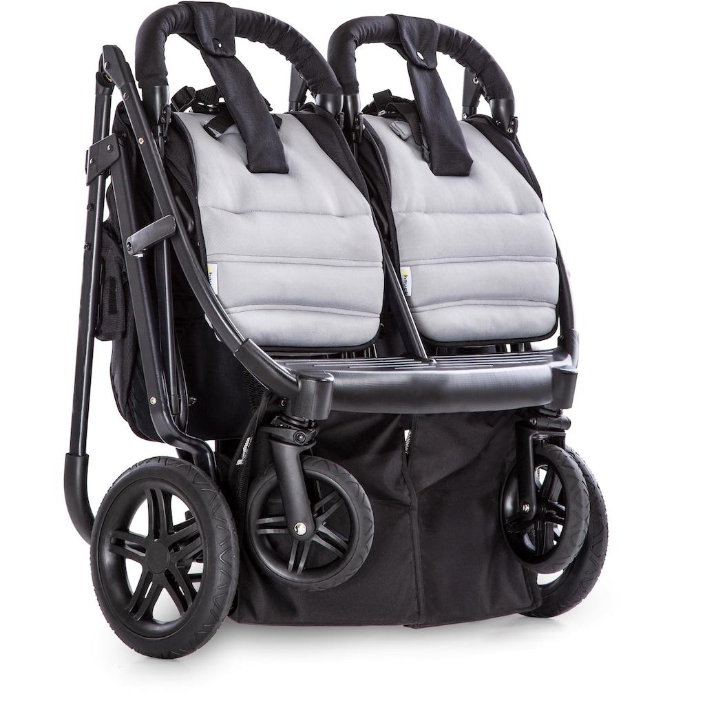 Hauck Geschwisterwagen »Rapid 3R Duo, Silver Charcoal«, 30 kg, mit schwenk- und feststellbaren Vorderrädern; Kinderwagen, Kinderwagen für Geschwister; Geschwisterkinderwagen