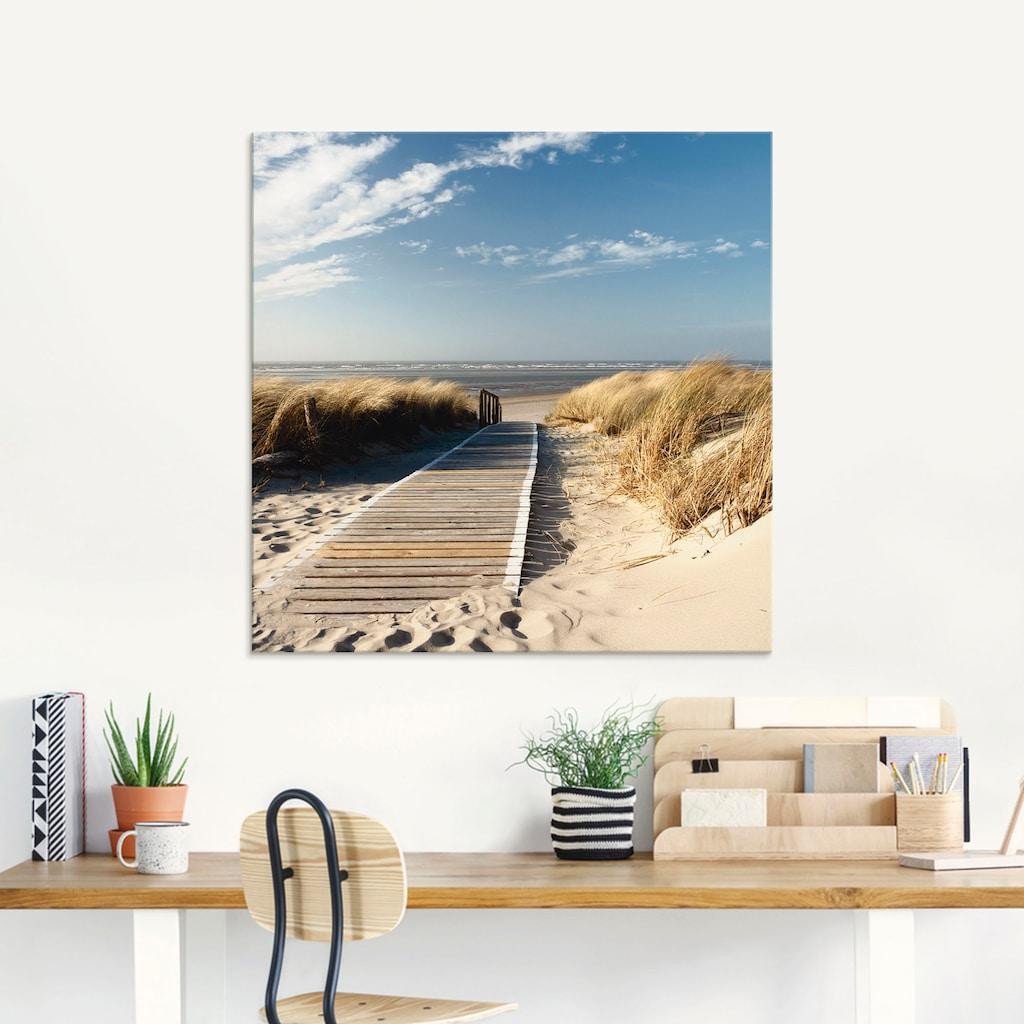 Artland Glasbild »Nordseestrand auf Langeoog - Steg«, Strand, (1 St.)