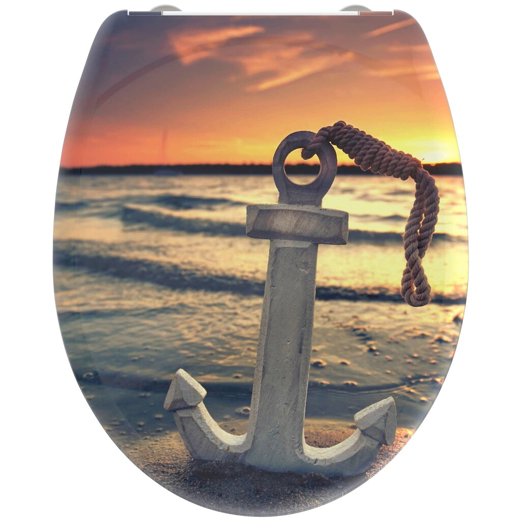 welltime WC-Sitz »Sunset«, hochwertiger abnehmbarer Premium-Toilettendeckel mit Absenkautomatik, Bruchsicher und kratzfest, mit Schnellverschluss, geeignet für alle handelsüblichen WC's