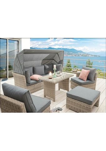 DESTINY Loungeset »Aruba«, 18 - tlg., Sitzbank, 2 Sessel, Hocker, Tisch, Alu/Polyrattan kaufen