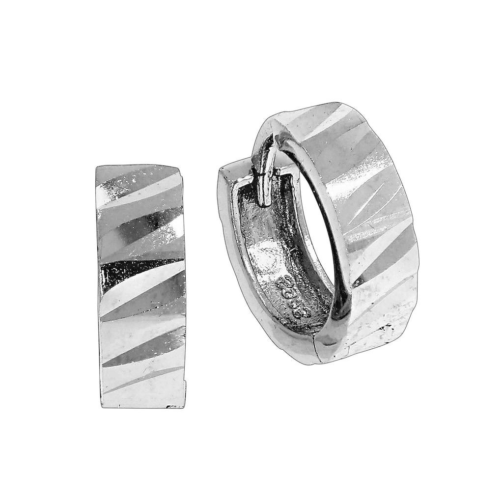 Vivance Klappcreolen »925/- Sterling Silber diamantiert«, rhodiniert+diamantiert