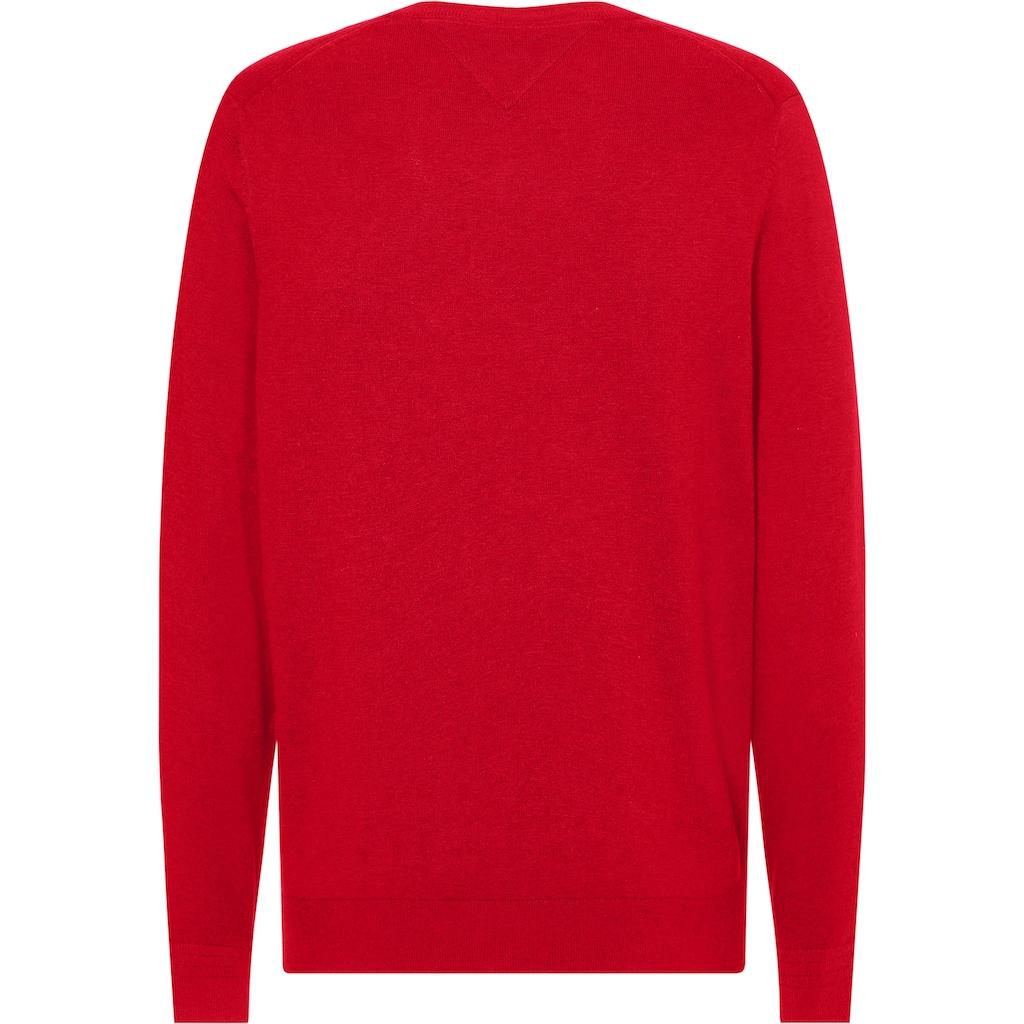 TOMMY HILFIGER V-Ausschnitt-Pullover »ORGANIC COTTON SILK V NECK«